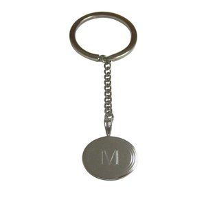Etched Oval Letter M Monogram Pendant Keychain